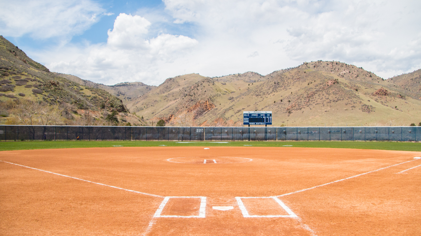 Here is a well kept softball field.